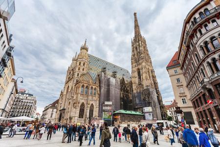 saint stephen cathedral: VIENNA, AUSTRIA - SEPTEMBER 27, 2015: tourists on Stephansplatz (Stephen Square), Vienna. The Stephansplatz is a square at the geographical centre of Vienna Editorial