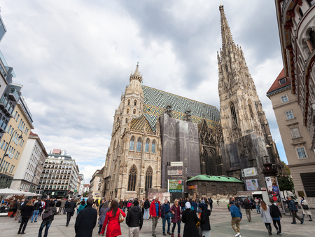 saint stephen cathedral: VIENNA, AUSTRIA - SEPTEMBER 27, 2015: St Stephens Cathedral, people on Stephansplatz, Vienna, Austria. The Stephansplatz (Stephens Square) is a square at the geographical centre of Vienna