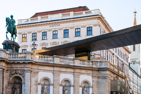 franz: VIENNA, AUSTRIA - SEPTEMBER 28, 2015: view of Franz Joseph I statue and Albertina Museum, Vienna. Albertina is one of most important gallery with about 65000 drawings and 1 million old master prints Editorial