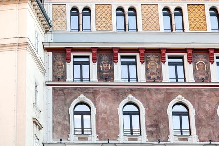 stephansplatz: VIENNA, AUSTRIA - SEPTEMBER 28, 2015: house with painted portrait on Stephansplatz, Vienna. Stephansplatz (Stephens Square) is square at the geographical centre of Vienna