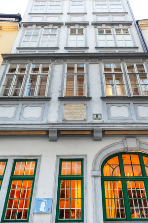 mozart: VIENNA, AUSTRIA - SEPTEMBER 28, 2015: facade of Mozarthaus on Domgasse in Vienna, Austria. Mozarthaus Vienna was Mozart residence from 1784 to 1787 and it is museum now.
