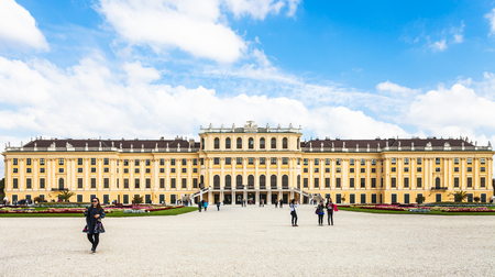 schonbrunn palace: VIENNA, AUSTRIA - SEPTEMBER 29, 2015: tourists near Schloss Schonbrunn palace. Schonbrunn Palace is former imperial summer residence located Vienna city.