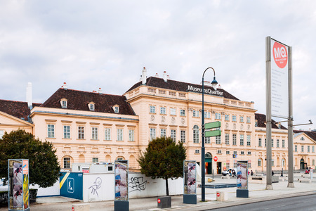 leopold: VIENNA, AUSTRIA - SEPTEMBER 29, 2015: Museumsquartier (MQW) in Vienna city. Museumsquartier is about 60000 sqm large area in Vienna, it is the eighth largest cultural area in the world.
