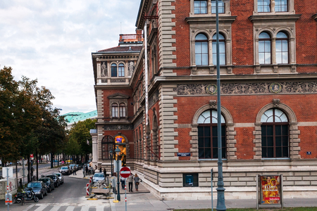 applied: VIENNA, AUSTRIA - SEPTEMBER 27, 2015: people near building Austrian Museum of Applied Arts. In 1863 Emperor Franz Joseph approved the establishment of the museum after model of South Kensington Museum