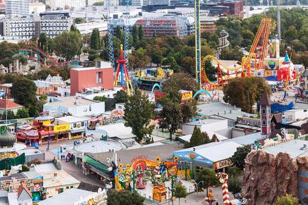 prater: VIENNA, AUSTRIA - SEPTEMBER 30, 2015: above view of amusement park Wurstelprater in Wiener Prater park in Vienna. The Prater park was open to public in 1766, by Austrian Emperor Josef II Editorial