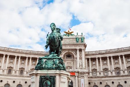 eugene: travel to Vienna city - statue of Prince Eugene of Savoy and Neue Burg Palace in Hofburg, Vienna, Austria