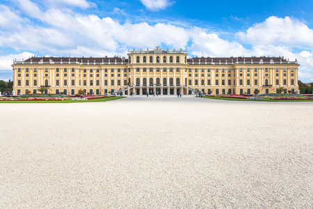 schonbrunn palace: travel to Vienna city - view of Schloss Schonbrunn palace from garden, Vienna, Austria