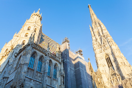 saint stephen cathedral: travel to Vienna city - towers of St. Stephens cathedral, Vienna, Austria