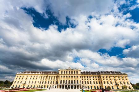 schloss schonbrunn: travel to Vienna city - low rain clouds over Schloss Schonbrunn palace, Vienna, Austria Editorial
