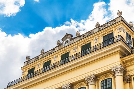 schloss schonbrunn: travel to Vienna city - facade of Schloss Schonbrunn palace and white cloud in blue sky, Vienna, Austria