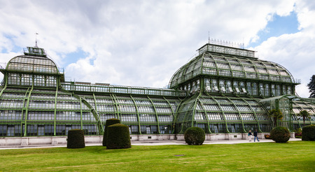 schloss schonbrunn: travel to Vienna city - Palmenhaus (Palm House) pavilion in garden of Schloss Schonbrunn palace, Vienna, Austria
