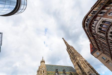 saint stephen cathedral: travel to Vienna city - gray clouds over Stephansdom on Stephansplatz, Vienna , Austria