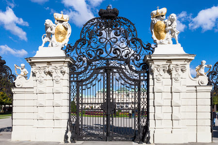 main gate: travel to Vienna city - main gate from side of Upper Belvedere Palace, Vienna, Austria Editorial