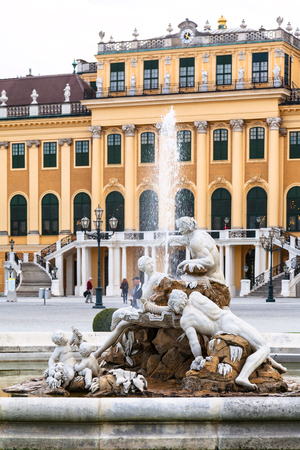 schonbrunn palace: travel to Vienna city - fountain and Schloss Schonbrunn palace, Vienna, Austria Editorial