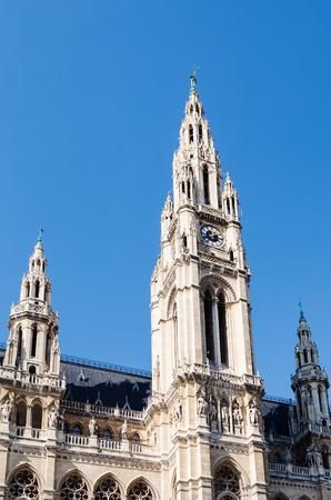rathaus: travel to Vienna city - tower of Rathaus (Town Hall) in Vienna, Austria