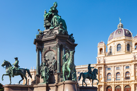 history building: travel to Vienna city - Maria Theresa Sculpture and Naturhistorisches Museum (Museum of Natural History) at Maria Theresien Platz, Vienna, Austria