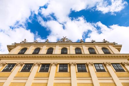 schloss schonbrunn: travel to Vienna city - facade of Schloss Schonbrunn palace and sky, Vienna, Austria