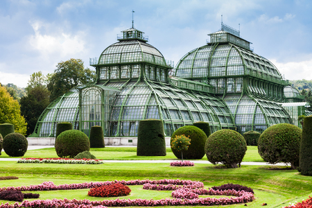 schloss schonbrunn: travel to Vienna city - Palm House, large greenhouse in garden of Schloss Schonbrunn palace, Vienna, Austria
