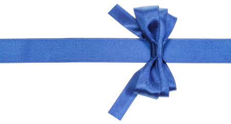 silk bow: real blue satin bow with square cut ends on silk ribbon isolated on white background Stock Photo