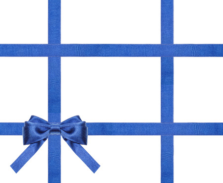 four in one: one blue satin bow in upper left corner and four intersecting ribbons isolated on horizontal white background
