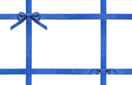 cross ties: blue satin bow and knot and four intersecting ribbons isolated on horizontal white background