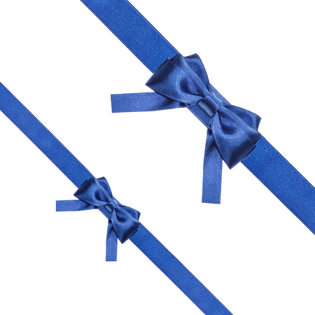 diagonal  square: two blue satin bows and two diagonal ribbons isolated on square white background