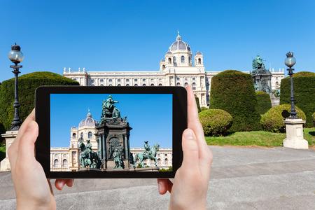 empress: travel concept - tourist snapshot of Empress Maria Theresa monument on Maria Theresien platz in Vienna on tablet pc