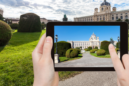 platz: travel concept - tourist snapshot of Naturhistorisches (Natural History) Museum on Maria Theresien platz in Vienna on tablet pc