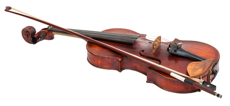 fiddles: full size violin with wooden chinrest and bow isolated on white background