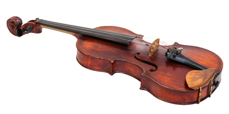 fiddles: full size violin with wooden chinrest isolated on white background