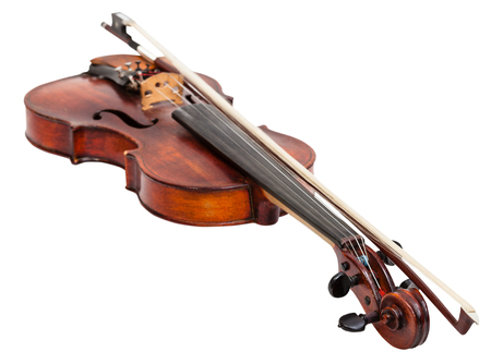 fiddles: old fiddle with bow isolated on white background Stock Photo
