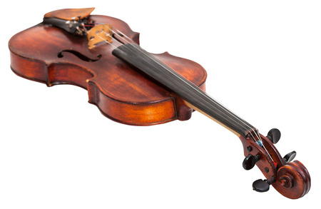 fiddle: old fiddle isolated on white background Stock Photo