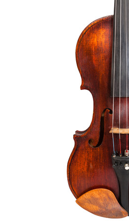 fiddles: half of old violin isolated on white background and empty copyspace Stock Photo