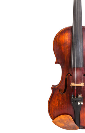 fiddles: half of old fiddle isolated on white background and empty copyspace Stock Photo