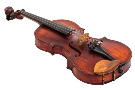 fiddles: old fiddle with wooden chinrest isolated on white background Stock Photo