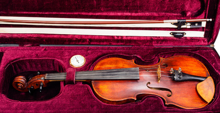 hygrometer: old classic violin with bow in red velvet case