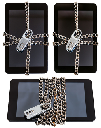 enveloped: set of tablet pc wrapped by chain and closed by combination lock