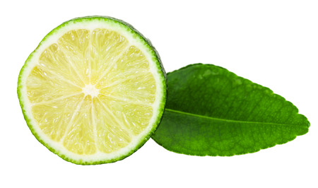 crosscut: slice of fresh green kaffir lime fruit with leaf isolated on white background