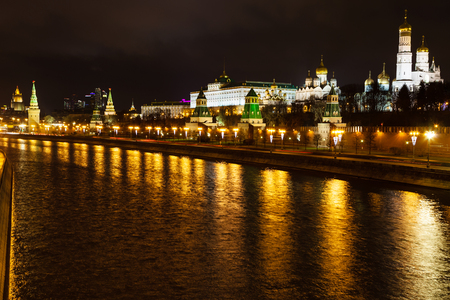 moskva river: view of Kremlin, embankment, Moskva River in Moscow in night