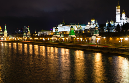 moskva river: skyline with Kremlin, embankment, Moskva River in Moscow in night Editorial