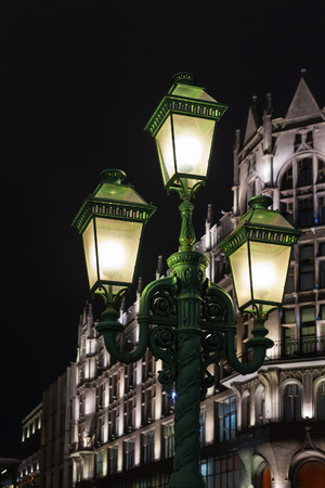 petrovka: Street lamps on Petrovka street in Moscow in night Stock Photo