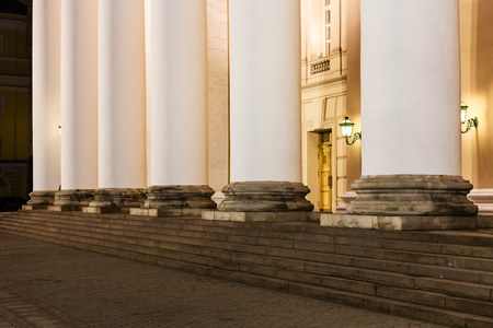 column of Bolshoi Theater on Teatralnaya square in Moscow in night Editorial