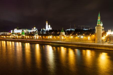 moskva river: night panorama of Kremlin embankment, Moskva River in Moscow Editorial