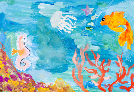 children painting: children painting - underwater world of the coral reef by watercolors