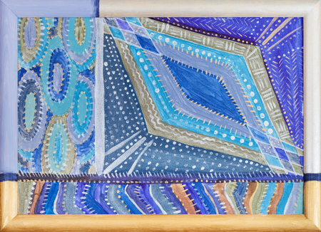 silver picture frame: abstract hand-painted blue geometric pattern by acrylic paints in painted wooden frame