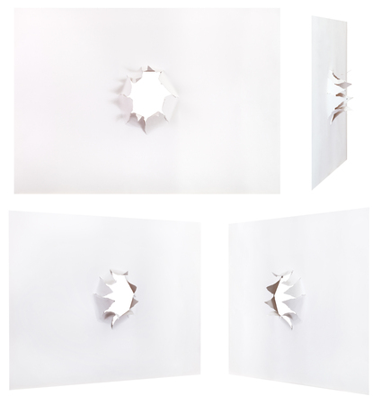 orifice: set sheets of paper with rough punched hole isolated on white background