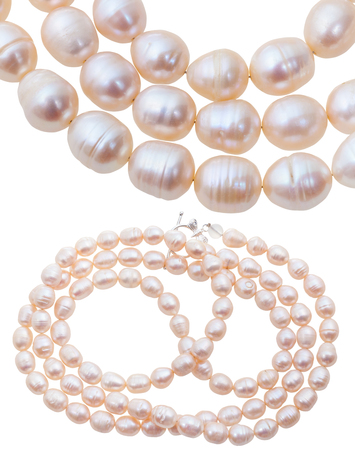 freshwater pearl: neclace from white and pink natural river pearls isolated on white background