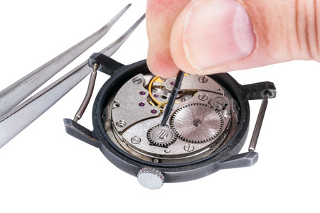 watchmaker: adjusting old mechanic wristwatch - watchmaker repairs old watch isolated on white background