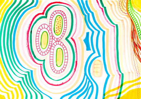 ovals: abstract hand-painted felt-tip pen drawing of geometric pattern with ovals Stock Photo