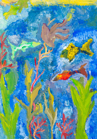 seaweeds: childs drawing - fishes and seaweeds in sea by watercolor gouache